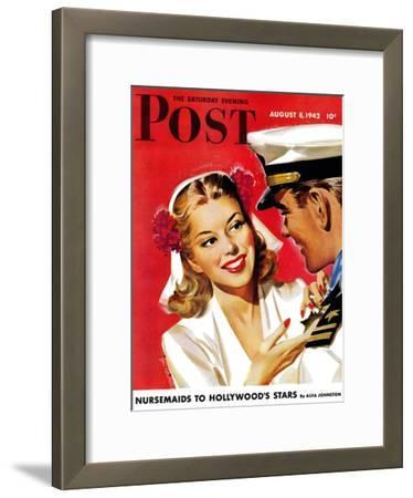 """Naval Officer & Woman,"" Saturday Evening Post Cover, August 8, 1942"