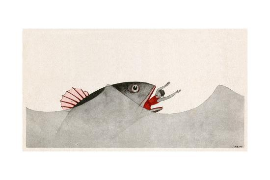 Jonah and the Whale-AE Marty-Giclee Print
