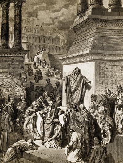 Jonah Telling of Nineveh's Coming Vanquishment-Gustave Dor?-Giclee Print