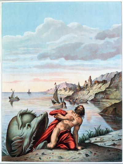 Jonah Thrown out by the Whale on the Shore-Theodore Amst-Giclee Print