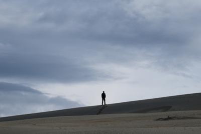 A hiker in the Kobuk Sand Dunes in Kobuk Valley National Park. by Jonathan Irish