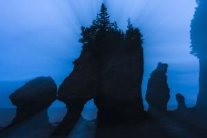An Artistic Shot of the Hopewell Cape Rocks, Silhouetted at Dusk by Jonathan Irish