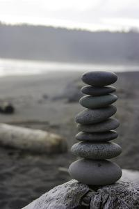 Stacked Up Pebbles on Third Beach on the Olympic Peninsula by Jonathan Irish