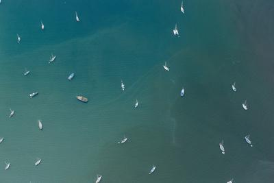 Aerial View of Boats Anchored in the Bay of Portobelo, Panama