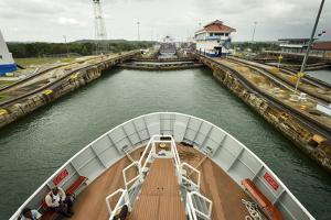 The Bow of a Small Passenger Ship as it Transits the Gatun Locks by Jonathan Kingston