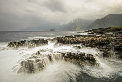 The Pacific Ocean Breaks over the Rocky Shoreline of the Kalaupapa Peninsula, Molokai, Hawaii