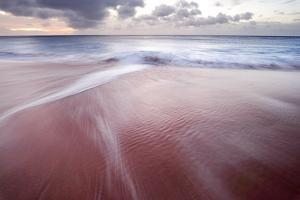 Waves Break over Pink Sand on the West Shore of Molokai, Hawaii by Jonathan Kingston