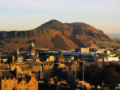 Holyrood Park and Arthur's Seat Seen from Edinburgh Castle, Edinburgh, United Kingdom
