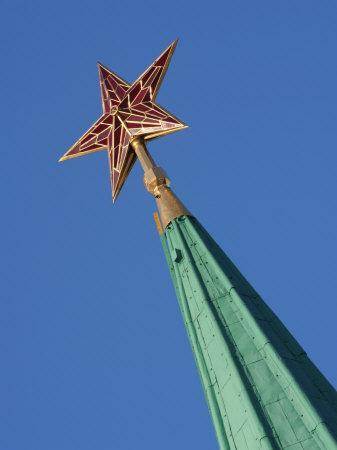 Stalin-Era Red Star on Top of One of Kremlin Towers, Moscow, Russia