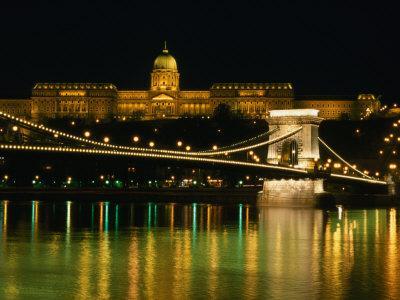 The Szechenyi Chain Bridge and the Royal Palace at Night, Budapest, Hungary