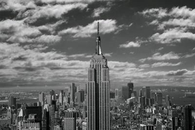 Empire State Building with Clouds-Elevated View by Jonnie Miles