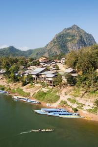 Boats on the Ou River, Nong Khiaw, Luang Prabang Area, Laos, Indochina, Southeast Asia, Asia by Jordan Banks