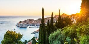 Croatia, Dalmatia, Dubrovnik, Old town, view of the old town at sunset by Jordan Banks