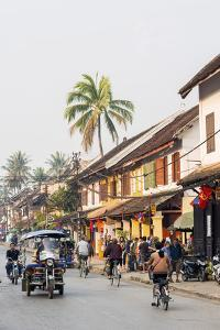Late Afternoon Street Scene, Luang Prabang, Laos, Indochina, Southeast Asia, Asia by Jordan Banks