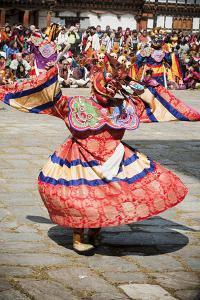 Traditional Dancer at the Paro Festival, Paro, Bhutan, Asia by Jordan Banks