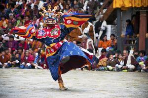 Traditional Dancers at the Paro Festival, Paro, Bhutan, Asia by Jordan Banks