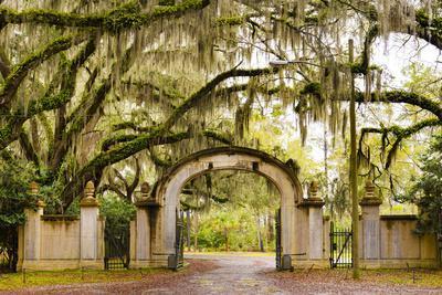 USA, Georgia, Savanah, Gateway and tree lined drive way at the Wormsloe Plantation
