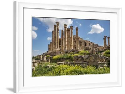 Jordan, Jerash. the Ruins of the Great Temple of Zeus in the Ancient Roman City of Jerash.-Nigel Pavitt-Framed Photographic Print