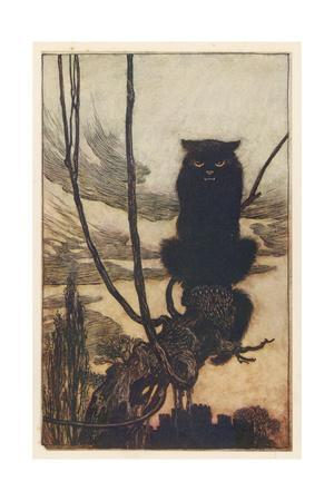 Jorinda as Owl-Arthur Rackham-Giclee Print