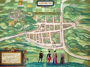 "Edinburgh Map, from ""Civitates Orbis Terrarum"" by Georg Braun and Frans Hogenberg circa 1572-1617 by Joris Hoefnagel"