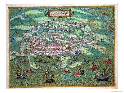 "Map of Alexandria, from ""Civitates Orbis Terrarum"" by Georg Braun and Frans Hogenberg, circa 1572"