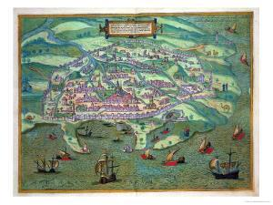 "Map of Alexandria, from ""Civitates Orbis Terrarum"" by Georg Braun and Frans Hogenberg, circa 1572 by Joris Hoefnagel"