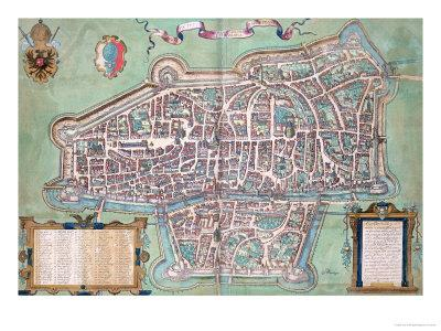 "Map of Augsburg, from ""Civitates Orbis Terrarum"" by Georg Braun and Frans Hogenberg, circa 1572"