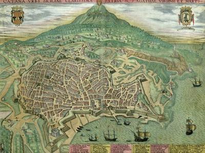 "Map of Catania, from ""Civitates Orbis Terrarum"" by Georg Braun and Frans Hogenberg, circa 1572"
