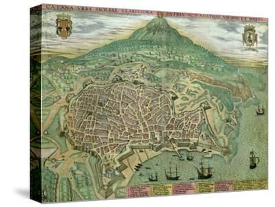 "Map of Catania, from ""Civitates Orbis Terrarum"" by Georg Braun and Frans Hogenberg, circa 1572"
