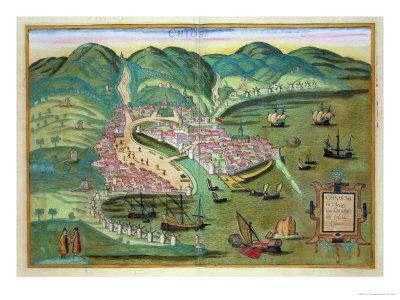 """Map of Chios, from """"Civitates Orbis Terrarum"""" by Georg Braun and Frans Hogenberg circa 1572-1617"""
