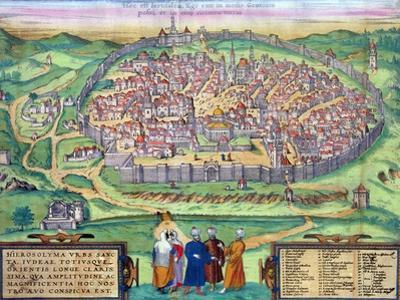 "Map of Jerusalem, from ""Civitates Orbis Terrarum"" by Georg Braun and Frans Hogenberg, circa 1572 by Joris Hoefnagel"