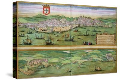 "Map of Lisbon, and Cascais, from ""Civitates Orbis Terrarum"""