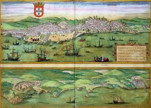 """Map of Lisbon, and Cascais, from """"Civitates Orbis Terrarum"""" by Joris Hoefnagel"""