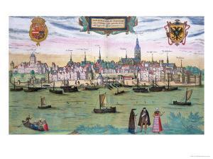 "Map of Nijmegen, from ""Civitates Orbis Terrarum"" by Georg Braun and Frans Hogenburg, circa 1572 by Joris Hoefnagel"