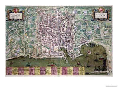 Map of Palermo, from Civitates Orbis Terrarum by Georg Braun