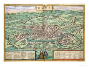 "Map of Rome, from ""Civitates Orbis Terrarum"" by Georg Braun and Frans Hogenberg, circa 1572 by Joris Hoefnagel"