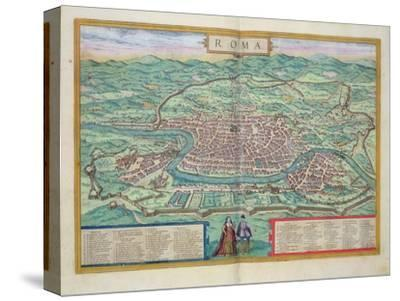 "Map of Rome, from ""Civitates Orbis Terrarum"" by Georg Braun and Frans Hogenberg, circa 1572"