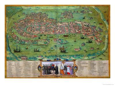 "Map of Venice, from ""Civitates Orbis Terrarum"" by Georg Braun and Frans Hogenberg, circa 1572"