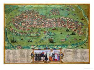 "Map of Venice, from ""Civitates Orbis Terrarum"" by Georg Braun and Frans Hogenberg, circa 1572 by Joris Hoefnagel"