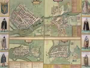 Maps of Galway, Dublin, Limerick, and Cork, in Civitates Orbis Terrarum by Braun and Hogenberg by Joris Hoefnagel