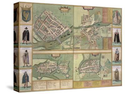 Maps of Galway, Dublin, Limerick, and Cork, in Civitates Orbis Terrarum by Braun and Hogenberg