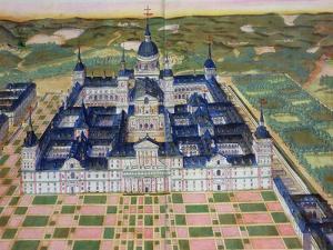 """Plan of the Monastery of El Escorial, from """"Civitates Orbis Terrarum"""" by Joris Hoefnagel"""