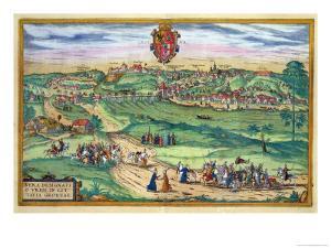 "Town Plan of Grodno, from ""Civitates Orbis Terrarum"" by Georg Braun and Frans Hogenberg, circa 1572 by Joris Hoefnagel"