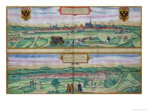 "Town Plan of Vienna and Buda, from ""Civitates Orbis Terrarum"" by Joris Hoefnagel"