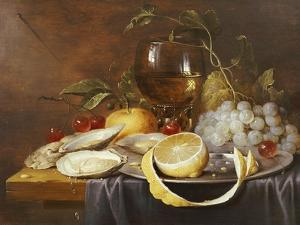 A Roemer, a Peeled Half Lemon on a Pewter Plate, Oysters, Cherries and an Orange on a Draped Table by Joris Van Son
