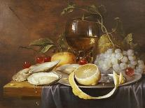 A Roemer, a Peeled Half Lemon on a Pewter Plate, Oysters, Cherries and an Orange on a Draped Table-Joris Van Son-Giclee Print