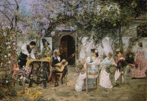 Tailors and Guitarist in the Garden by Jose Gallegos Y Arnosa