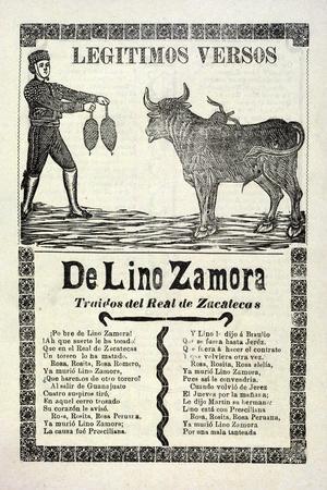Legítimos Versos De Lino Zamora Traidos Del Real De Zacatecas, Published 1903