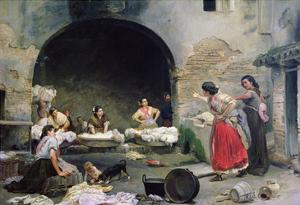 Washerwomen Disputing, 1871 by Jose-Jimenes Aranda