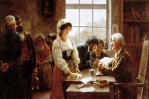 The Marriage Contract, 1895 by Jose Rico y Cejudo